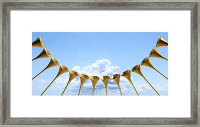 Heavenly Medieval Trumpet Circle And Sky Framed Print