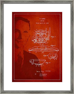Henry Ford Engine Patent Drawing From 1928 Framed Print