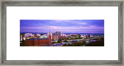 High Angle View Of A City At Dusk Framed Print by Panoramic Images