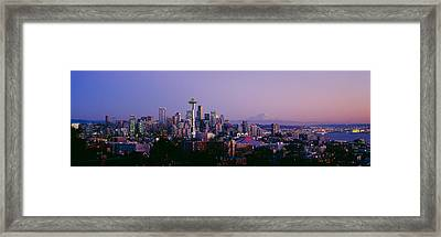 High Angle View Of A City At Sunrise Framed Print