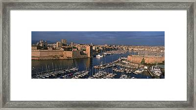 High Angle View Of Boats Docked Framed Print