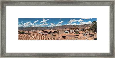 High Angle View Of Houses In A Town Framed Print