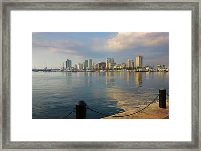 High Rises Along The Waterfront, Manila Framed Print by Keren Su