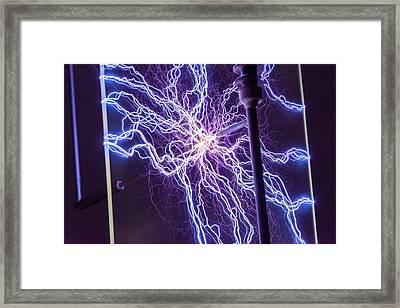High Voltage Electrical Discharge Framed Print