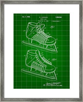 Hockey Shoe Patent 1934 - Green Framed Print by Stephen Younts