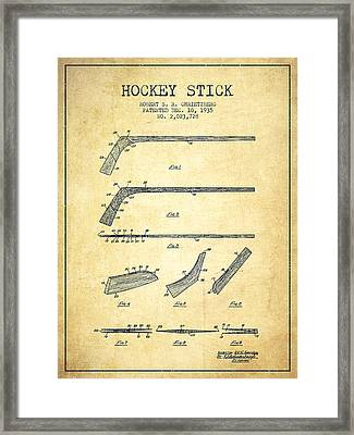 Hockey Stick Patent Drawing From 1935 Framed Print by Aged Pixel