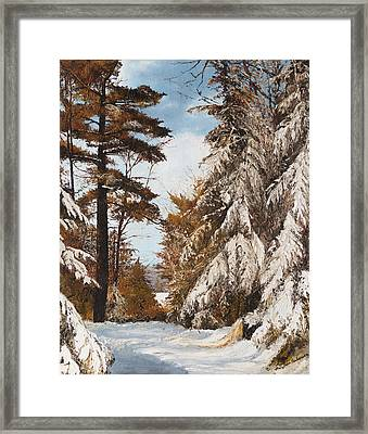 Framed Print featuring the painting Holland Lake Lodge Road - Montana by Mary Ellen Anderson