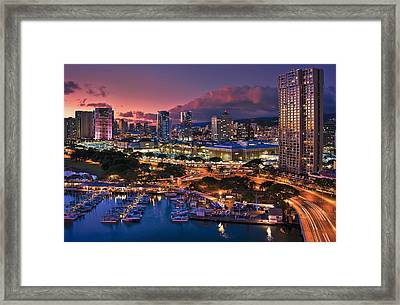 Framed Print featuring the photograph Honolulu City Lights by Hawaii  Fine Art Photography