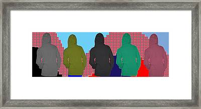 Hoodie Gang Graffiti Fashion Background Designs  And Color Tones N Color Shades Available For Downlo Framed Print by Navin Joshi