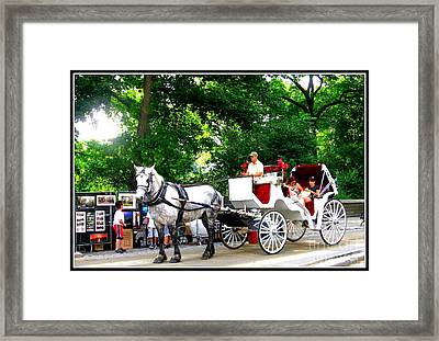 Horse And Carriage In Central Park Framed Print