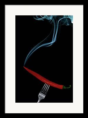 Incense Smoke Framed Prints