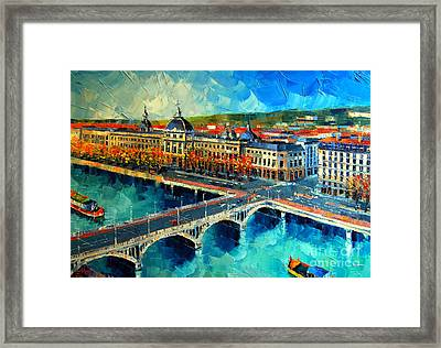 Hotel Dieu De Lyon Framed Print by Mona Edulesco