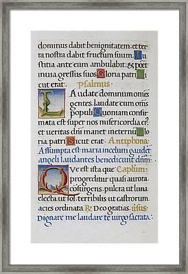 Hours Of The Virgin Framed Print
