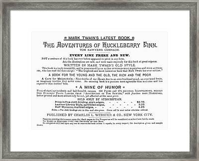 Huckleberry Finn, 1885 Framed Print