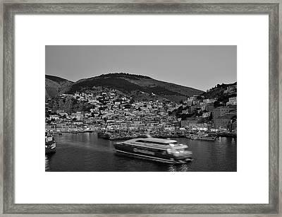 Hydra Port During Dusk Time Framed Print by George Atsametakis