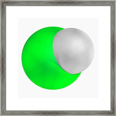 Hydrochloric Acid Molecule Framed Print by Laguna Design/science Photo Library