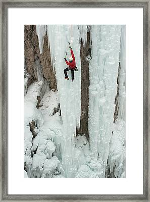 Ice Climber Ascending At Ouray Ice Framed Print