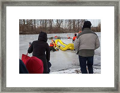 Ice Rescue Demonstration Framed Print by Jim West/science Photo Library