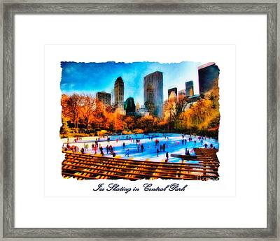 Ice Skating In Central Park Framed Print