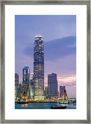 Ifc Tower In Hong Kong Skyline Framed Print by Tuimages