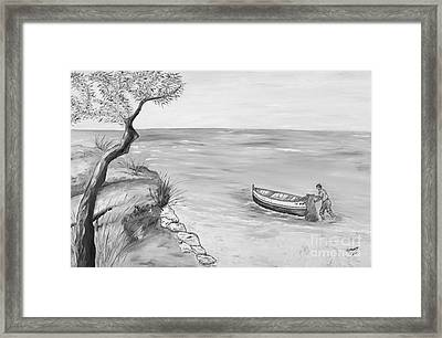 Framed Print featuring the painting Il Pescatore Solitario by Loredana Messina