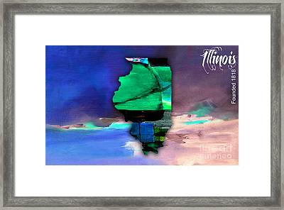 Illinois Map Watercolor Framed Print by Marvin Blaine
