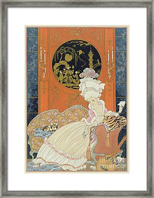 Illustration For 'fetes Galantes' Framed Print by Georges Barbier