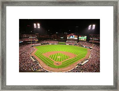 In A Night Game And A Light Rain Mist Framed Print