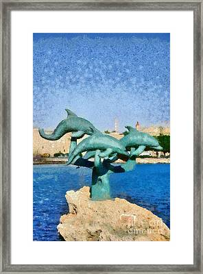 In Front Of The Old City Of Rhodes Framed Print by George Atsametakis