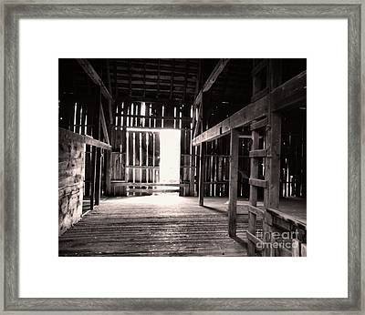 Framed Print featuring the photograph Inside An Old Barn by John S
