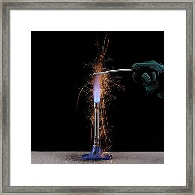 Iron Filings In A Gas Flame Framed Print