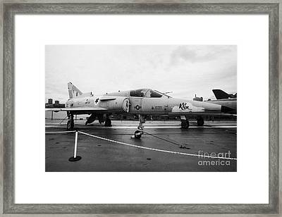 Israel Aircraft Industries Kfir On Disply On The Flight Deck At The Intrepid Sea Air Space Museum Framed Print