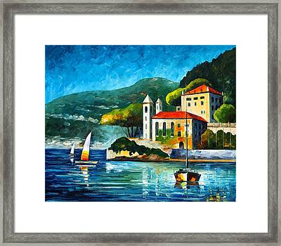 Italy Lake Como Villa Balbianello Framed Print by Leonid Afremov