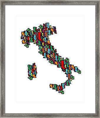 Italy Map Framed Print by Mark Ashkenazi