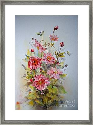 Framed Print featuring the painting Japanese Anemones by Beatrice Cloake