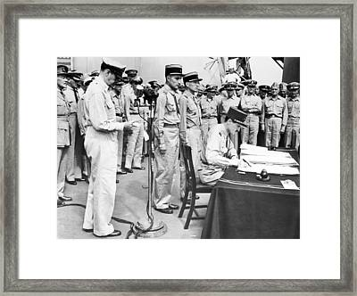 Japanese Surrender Ceremony Framed Print by Underwood Archives
