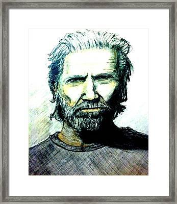 Jeff Bridges Framed Print by Larry Lamb