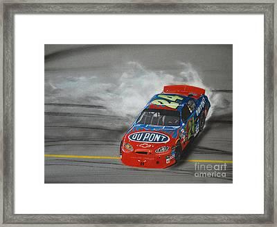 Jeff Gordon Victory Burnout Framed Print by Paul Kuras