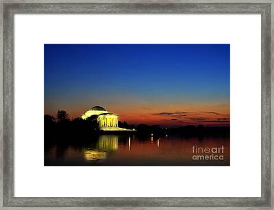 Jefferson Monument Reflection Framed Print by Lane Erickson
