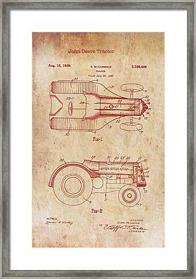 John Deere Tractor Patent 1939 Framed Print by Mountain Dreams
