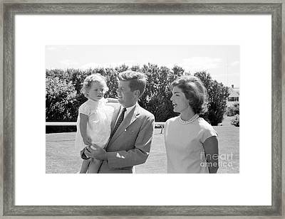 John F. Kennedy With Jacqueline And Caroline 1959 Framed Print by The Harrington Collection
