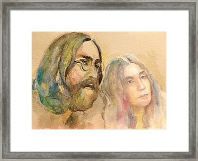Framed Print featuring the painting John Lennon by Laur Iduc