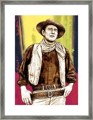 John Wayne Stylised Pop Art Drawing Potrait Poser Framed Print by Kim Wang