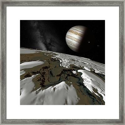 Jupiter From Europa Framed Print by Detlev Van Ravenswaay