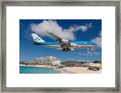 K L M Landing At St. Maarten Framed Print