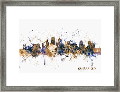 Kansas City Skyline Framed Print by Michael Tompsett
