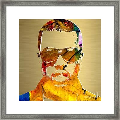 Kanye West Gold Series Framed Print by Marvin Blaine