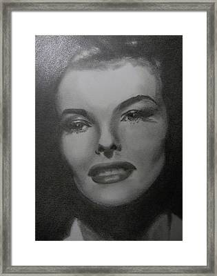 Framed Print featuring the drawing Kathryn Hepburn by Lori Ippolito