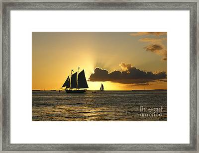 Framed Print featuring the photograph Key West Sunset by Olga Hamilton