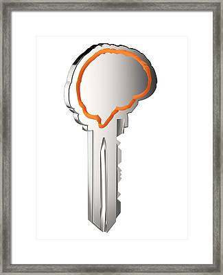 Key With Brain Shape Framed Print by Alfred Pasieka